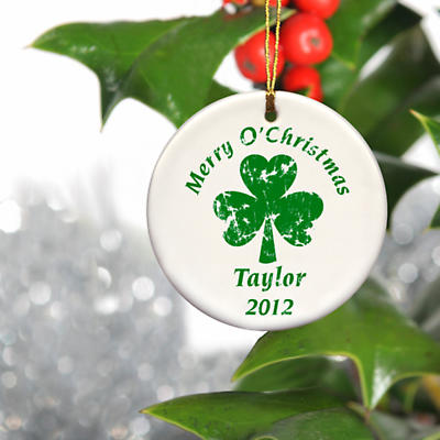 Irish Christmas - Personalized Irish Ornaments - Christmas and Shamrock Ornament
