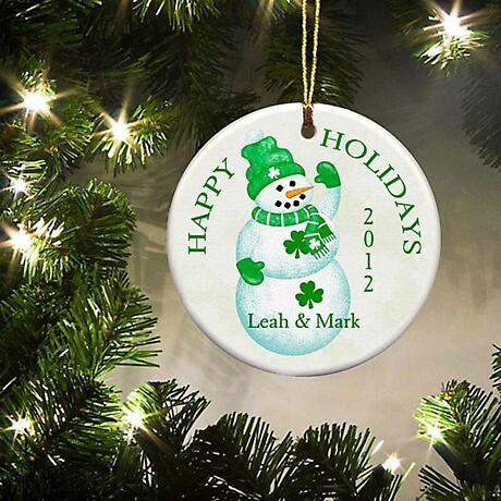 Irish Christmas - Personalized Irish Ornaments - Lucky Snowman Ornament