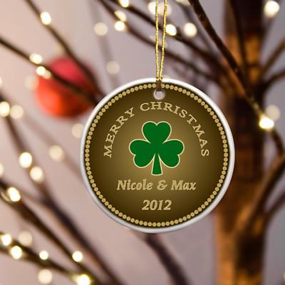 Irish Christmas - Personalized Irish Ornaments - Stout Shamrock Ornament