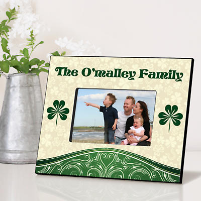 Personalized Irish Picture Frames - Cream and Shamrock