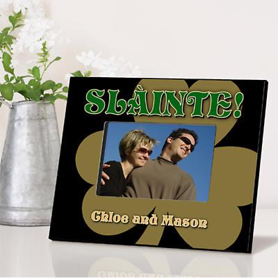 Personalized Irish Picture Frames - Gold shamrock