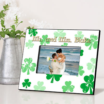 Personalized Irish Picture Frames - Raining Shamrocks