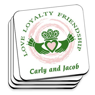 Personalized Irish Family Coaster Set - Claddagh