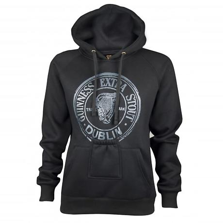 Guinness Black Pullover Hoodie with Beer Bottle Pocket