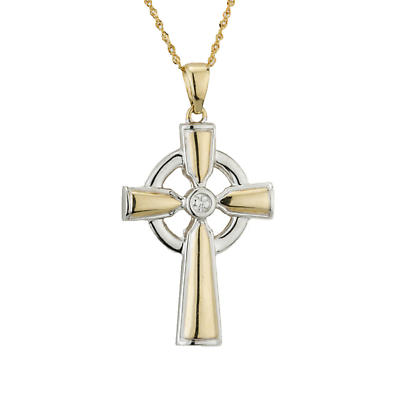 Celtic Cross Necklace - 14k Yellow & White Gold Diamond Irish Pendant