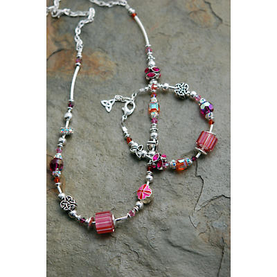 Celtic Necklace - Pink & Orange