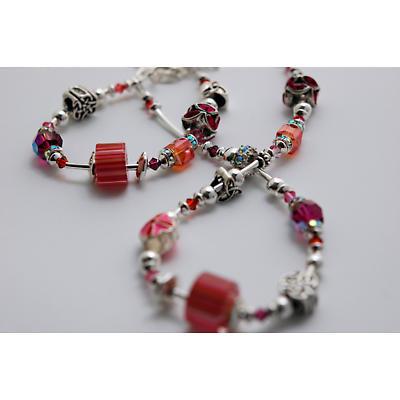 Celtic Bracelet - Pink & Orange