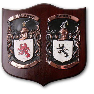 Personalized Double Coat of Arms Plaque - Large