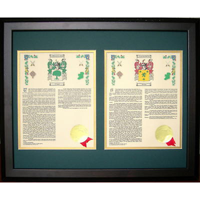 Personalized 16 x 20 His & Her Coat of Arms Matted & Framed Print