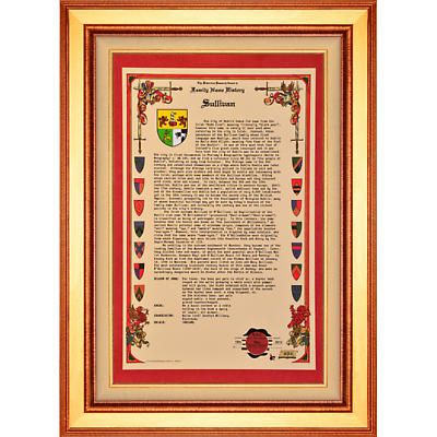 Personalized Irish Coat of Arms Masterpiece History - Framed