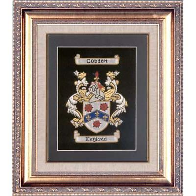 Personalized Framed Irish Single Coat of Arms Hand Stitched Embroidery