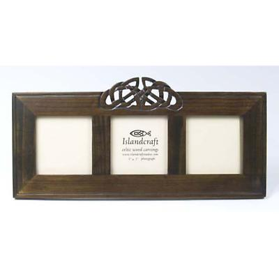 Celtic Carved Wood Triple 3 x 3 Picture Frame