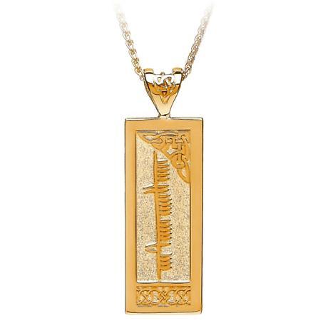Irish Necklace - Personalized Ogham Gold Celtic Pendant