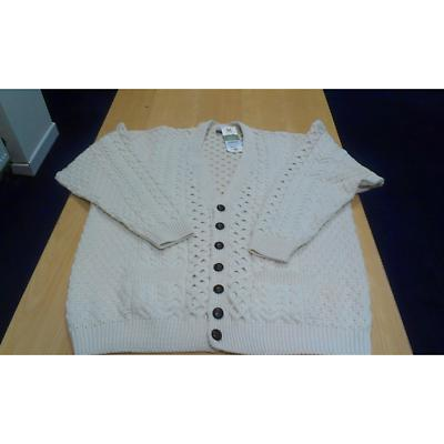 Mens White Merino Wool Aran Cardigan