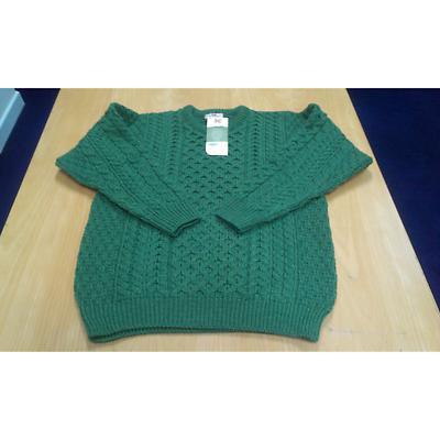 Men's Merino Wool Traditional Aran Sweater Green