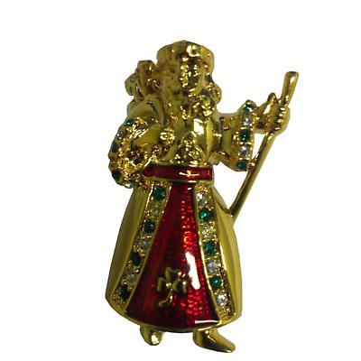 Irish Christmas - Irish Father Christmas Crystal Trinity Knot and Shamrock Gold Plated Pin