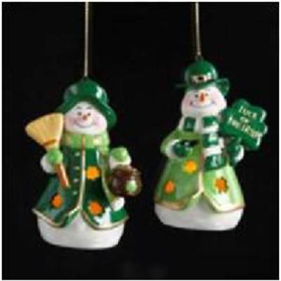 Irish Christmas - Irish Snowman Light-Up Ornaments - Set of 2