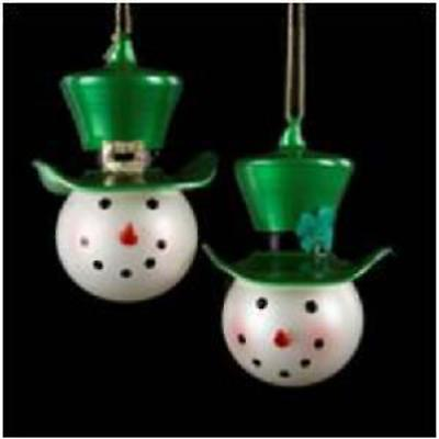 Irish Christmas - Irish Snowman Glass Ornaments - Set of 2