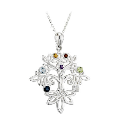 Irish Necklace - Sterling Silver Trinity Knot Celtic Tree of Life Pendant