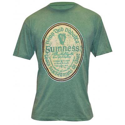 Guinness Shirt - Green Distressed Gaelic Guinness Label Irish T-Shirt