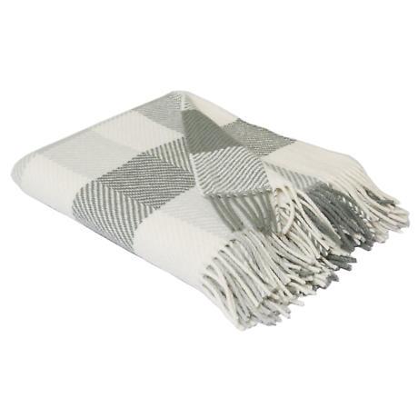 Foxford Grey & Cream Check Merino Wool Throw