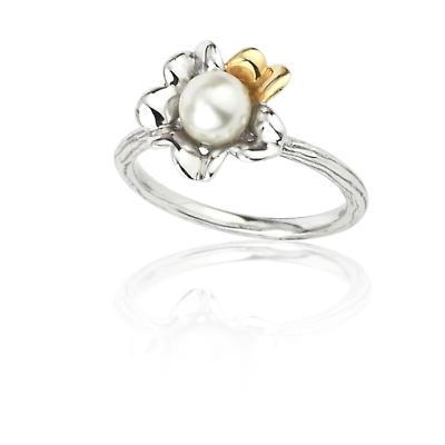 Jean Butler Jewelry Irish Ring - Sterling Silver Two Tone Irish Primrose Pearl Irish Ring