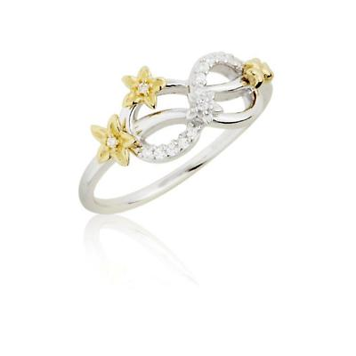 Jean Butler Jewelry - Sterling Silver CZ & 18k Yellow Gold Plated Forget Me Knot Flower Irish Ring