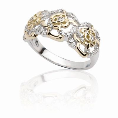 Jean Butler Jewelry - Sterling Silver Irish Rose 18k Yellow Gold Plated Irish Ring