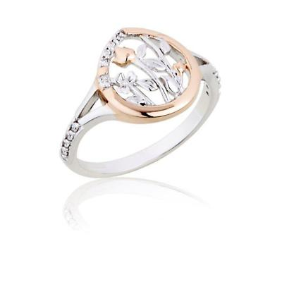 Jean Butler Jewelry - Sterling Silver Meadows CZ Set With 18k Rose Gold Plate Irish Ring