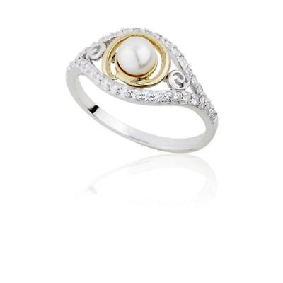Jean Butler Jewelry - Sterling Silver Pearl & 18k Yellow Gold Plated Triskele Irish Ring