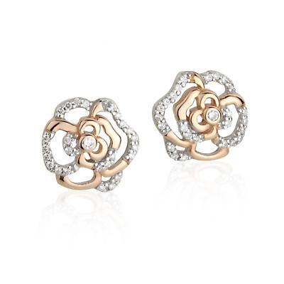 Jean Butler Jewelry Irish Earrings - Sterling Silver Irish Rose Two Tone Stud Irish Earrings