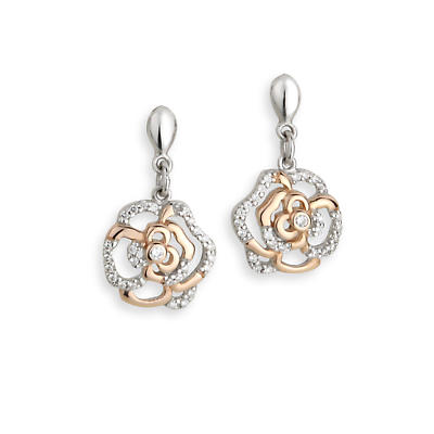 Jean Butler Jewelry Irish Earrings - Sterling Silver Irish Rose Two Tone Drop Irish Earrings