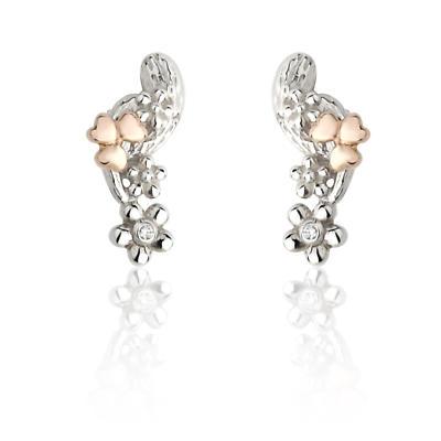 Jean Butler Jewelry Irish Earrings - Sterling Silver Irish Nature Two Tone Irish Earrings