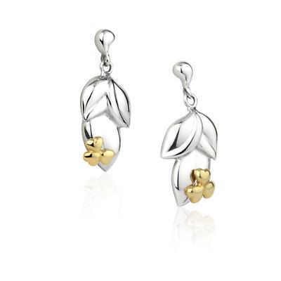 Jean Butler Jewelry Irish Earrings - Sterling Silver Irish Shamrock Bud Drop Irish Earrings