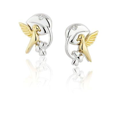 Jean Butler Jewelry - Sterling Silver Celtic Vine & 18k Yellow Gold Plated Bird Stud Irish Earrings With CZ