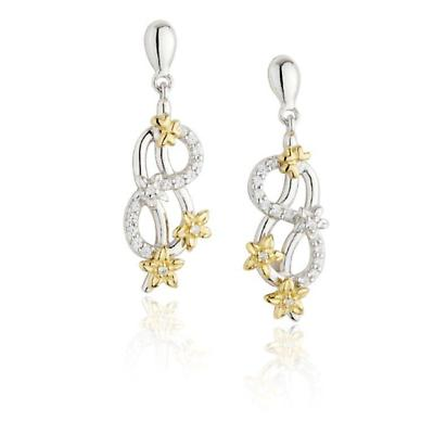 Jean Butler Jewelry - Sterling Silver CZ & 18k Yellow Gold Plated Forget Me Knot Flower Drop Irish Earrings
