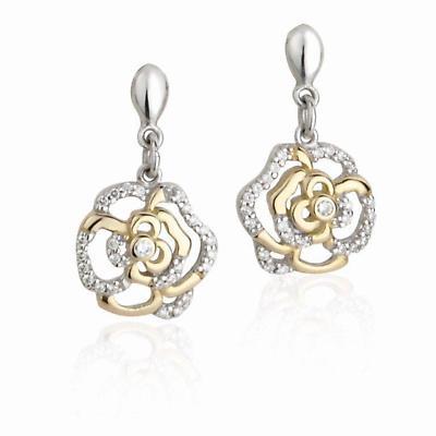 Jean Butler Jewelry - Sterling Silver Irish Rose 18k Yellow Gold Plate 2 Tone Drop Irish Earrings