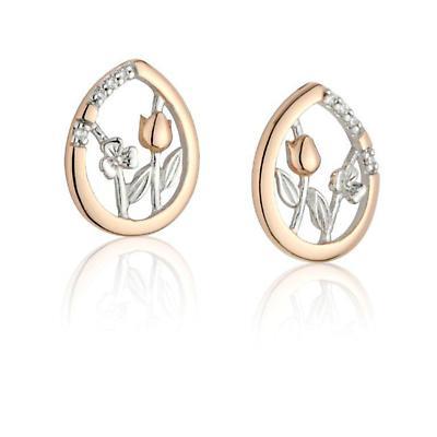 Jean Butler Jewelry - Sterling Silver Meadows CZ Stud Irish Earrings Set With 18k Rose Gold Plate Irish Earrings