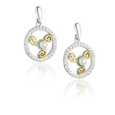 Jean Butler Jewelry - Sterling Silver CZ & Pearl 18k Yellow Gold Plate Triskele Drop Irish Earrings