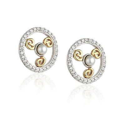 Jean Butler Jewelry - Sterling Silver CZ & Pearl 18k Yellow Gold Plated Triskele Stud Irish Earrings