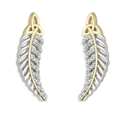 Jean Butler Jewelry - Sterling Silver with 18k Yellow Gold Plate Trinity Knot Irish Earrings
