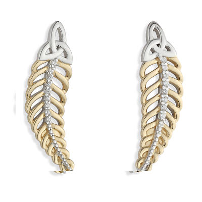 Jean Butler Jewelry - Sterling Silver with 18k Yellow Gold Plate CZ Feather Trinity Knot Irish Earrings