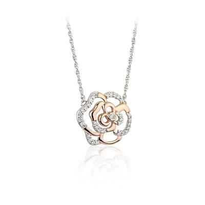 Jean Butler Jewelry Irish Necklace - Sterling Silver Irish Rose Two Tone Pendant with Chain
