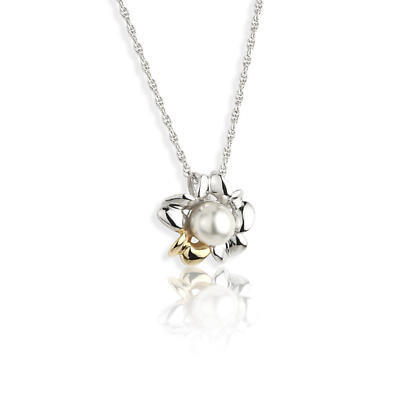 Jean Butler Jewelry Irish Necklace - Sterling Silver Irish Primrose Pearl Two Tone Pendant with Chain