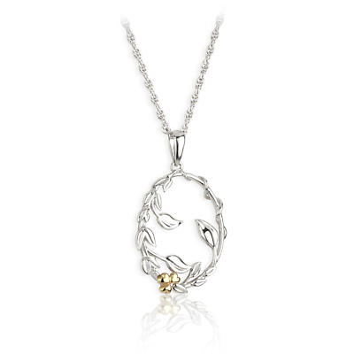 Jean Butler Jewelry Irish Necklace - Sterling Silver Irish Primrose Pearl Two Tone Pendant with Chain Irish Necklace - Sterling Silver Irish Shamrock Bud Pendant with Chain