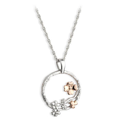Jean Butler Jewelry Irish Necklace - Sterling Silver Irish Nature Two Tone Pendant with Chain
