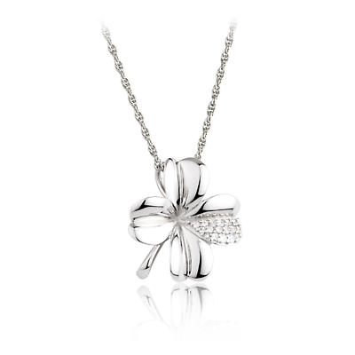 Jean Butler Jewelry Irish Necklace - Sterling Silver Irish Forget Me Not Stone Set Pendant with Chain