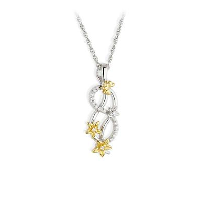 Jean Butler Jewelry - Sterling Silver CZ & 18k Yellow Gold Plated Forget Me Knot Flower Irish Pendant