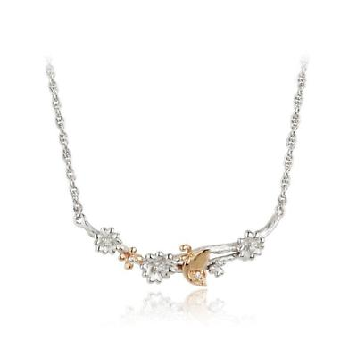 Jean Butler Jewelry - Sterling Silver Primrose & Butterfly 18k Rose Gold Plated Bark Irish Necklace