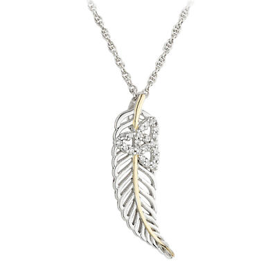 Jean Butler Jewelry - Sterling Silver with 18k Yellow Gold Plate Vein Feather CZ Trinity Knot Irish Pendant